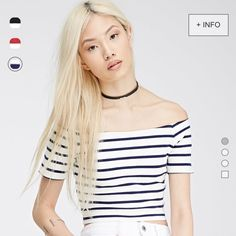 Striped Off the Shoulder Top Striped Off the Shoulder Crop Top. Cream white and navy blue stripes. 95% cotton 5% spandex. Soft. Versatile. So cute!!  Unfortunately this is too big for me. I ordered a small and this is loose on my waist. I normally wear XS and they don't carry that size. Forever 21 Tops Crop Tops