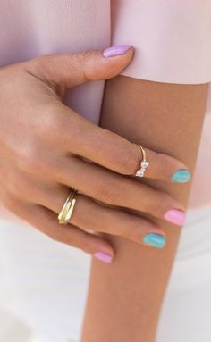 Cotton candy/ pastel nails. Lilac + mint + bubblegum pink.