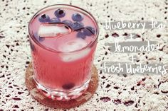 (Non-Alcoholic) Arnold Palmer Mix-Ups: Pictured is Blueberry Tea + Lemonade + Fresh Blueberries