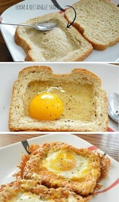 Cheesy Baked Egg Toast Crispy cheese is my FAVORITE! You can always count … Cheesy Baked Egg Toast Crispy cheese is my FAVORITE! You can always count on me to scrape all of the cheese that's fallen onto a pa… Breakfast Egg Casserole, Breakfast Bake, Breakfast Dishes, Best Breakfast, Breakfast Recipes, Breakfast Ideas, Breakfast Enchiladas, Egg Toast, Cheese Toast