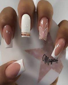 Acrylic Nail Designs Glitter, Disney Acrylic Nails, Fall Acrylic Nails, Pretty Toe Nails, Pretty Nail Art, Gorgeous Nails, Colorful Nail Designs, Nail Art Designs, Soft Pink Nails