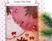 "45"" Tree Skirt Sewing Pattern #JW37 // Vintage Holiday Christmas Tree Skirt Ornament Patterns DIY Supplies Maroon Red"