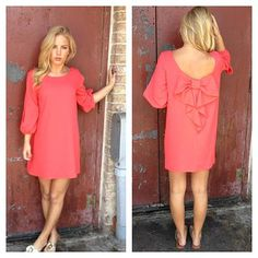 Fuchsia Pink Sleeve Off the Shoulder Dress with Bow Back