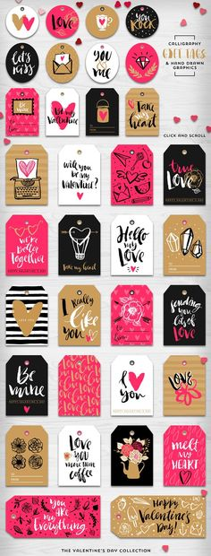 Valentine's day gift tags & overlays - Objects