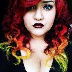 Red to yellow ombre