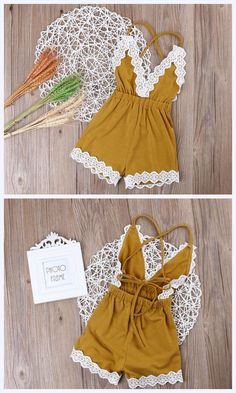 gorgeous spring mustard colored romper for toddler girls with lace trim and a tie back. #affiliate