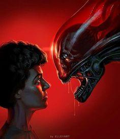 Conceptual art of H. Giger's design of the translucent skull for the Xenomorph we came to know as 'Alien'. Alien Vs Predator, Predator Alien, Les Aliens, Aliens Movie, Arte Horror, Horror Art, Alien Ripley, Giger Alien, Alien Isolation