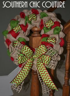 Christmas Wreath - Burlap Wreath - Etsy Wreath - Chevron Wreaths for door - Wreaths for door - Door Wreath - Monogram wreath - Door Wreaths on Etsy, $45.00