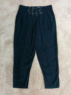 Marnie West vintage black high waist sequined bloomy pants, Large, L, #1699 #MarnieWest
