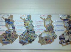 1luokkalaisten kanssa teimme ryhmätöinä tällaisen vuosikalenterin takaseinälle.