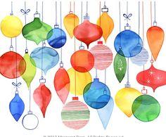 X-Mas Ornaments Watercolor