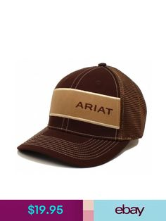 4f8b8bb34b690 Hats Ariat Men s Logo Wide Stripe Brown Mesh Back Baseball Cap Hat One Size