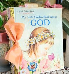 "This class kit comes with all you need to make a very special book that will be a treasured keepsake. Using the classic book, ""My Little Golden Book about God,"" we will take it apart and refashion it as a. Little Golden Books, Little Books, Book Crafts, Paper Crafts, Hand Crafts, Bible Covers, Book Covers, Vintage Children's Books, Vintage Kids"