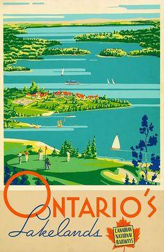 Ontario's Lakelands, Canadian Railways - Canada Travel Vintage Poster