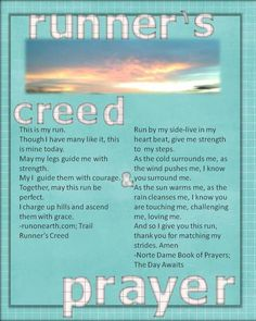 Runner's Creed & Prayer - Two Peas in a Bucket