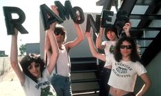 LR Joey Ramone Dee Dee Ramone Johnny Ramone and Tommy Ramone of the rock and roll band 'The Ramones' pose for a portrait holding letters that spell. Joey Ramone, Ramones, El Rock And Roll, Rock And Roll Bands, History Of Punk, Oral History, Band Posters, Music Posters, Retro Posters