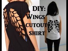 T Shirt Design Ideas Cutting cut out back tee Diy Wings Cutout Tshirt Upcycling