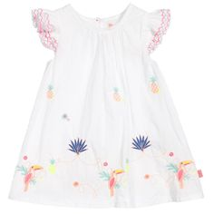 Lovely white cotton dress for younger girls by Billieblush. It is embroidered with colourful toucans, cacti, pineapples and flowers. Fully lined, it has pretty, tiered and embroidered capped sleeves. Designer Dresses For Kids, Girls Dresses, Summer Dresses, Cacti, Cotton Dresses, White Cotton, Baby Girls, Cap Sleeves, My Girl