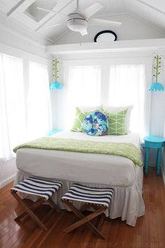 Beach Cottage Bedroom With Turquoise And Green Accents