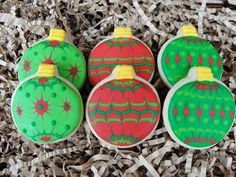 Christmas Tree Ornament Hand Decorated Sugar Cookies