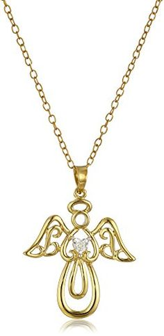 14k Gold Plated Sterling Silver DiamondAccent Angel Pendant Necklace -- You can get additional details at the image link.