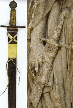 Compare the wonderful representation of a typical 13th century scabbard & sword belt on the monumental effigy of Hermann von Hain (before 1250) to the sword & scabbard recovered form the tomb of Fernando de la Cerda