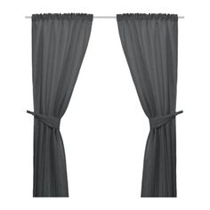 ANITA Pair of curtains with tie-backs, dark gray $29.99 [Heavy fabric helps to reduce sound and keeps out light. Heading with slot, hidden tabs and gathering tape. Works on curtain rods or KVARTAL curtain hanging system]
