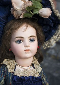 """25"""" (63 cm.) Very Beautiful French Bisque Bebe by Bru,Chevrot Epoch with wonderful dress! Antique dolls at Respectfulbear.com"""