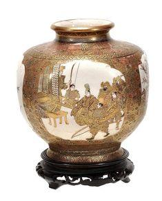A Satsuma yakia pottery vase of squared ovoid form Japanese Vase, Japanese Porcelain, Japanese Ceramics, Japanese Pottery, Porcelain Ceramics, Ceramic Art, Taisho Period, Satsuma Vase, Pottery Vase