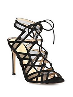 Gianvito Rossi - Suede & Mesh Lace-Up Cutout Sandals