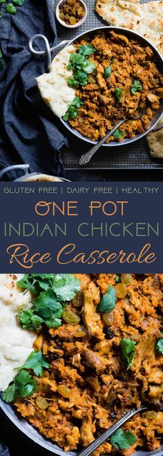 Indian Chicken Rice Casserole -This dairy and gluten free casserole is made in one pot and has delicious Indian curry flavors! It's a quick and easy, healthy weeknight meal that freezes well and makes great leftovers! | Foodfaithfitness.com | @FoodFaithF