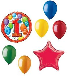"Custom, Fun & Cool {Big Large Size 11""-18"" inch} 7 Pack of Helium & Air Inflatable Mylar Foil/Latex Balloons w/ Boys Happy First Birthday Design [Variety Assorted Multicolor in Red Yellow Blue Green]"