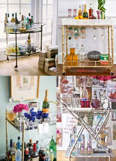I'd enjoy any one of these stylish serving/bar carts. A bar cart is great alternative to trying to squeeze a large bulky bar armoire into a smaller living space. Bar Cart Styling, Bar Cart Decor, Outside Bars, Gold Bar Cart, Bar Areas, Bar Furniture, Bars For Home, Interiores Design, Decoration