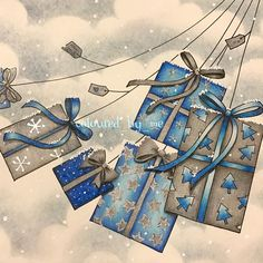 3 shades of blue, gingerroot, white highlights. Bird with packages. #JohannasChristmas. by @coloured_by_me.