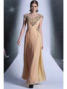 V-Neck Vintage Cap Sleeve Fall A-Line Yellow Long Mother Of Bride Dress - US$ 214.99 - Style M2486 - Snowy Bridal