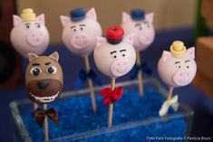 Three Little Pigs birthday party cake pops! See more party ideas at CatchMyParty.com!