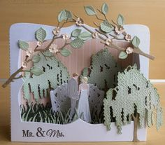 Handmade box card by DT member Astrid with Craftables Box Card (CR1374), Creatables Tiny's Bridge (LR0426), Tiny's Wedding (LR0427) and Weeping Willow (LR0429) from Marianne Design