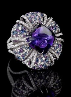 Jay Carlile Amethyst Ring / 29ct cabochon amethyst stone set with diamonds and amethysts.