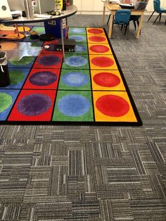 ⭐️⭐️⭐️⭐️⭐️ 5 star review: Vibrant Seating Rug I am so pleased with this rug. The vibrant colors are such a great accent to my classroom. The circles/squares are just the right size for my K/1 students. I get lots of compliments on the rug. Shipping was fast and communication with SensoryEdge was/as been exemplary. Classroom Rugs, K 1, Circle Time, Classroom Organization, Flocking, Learning Activities, Circles, Favorite Color, Squares