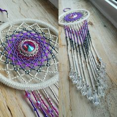 White, fuschia, purple large beaded suncatcher by BeadingsbyBarb