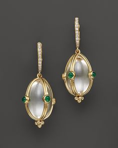 Temple St. Clair Diamond Pave, Rock Crystal and Emerald Classic Amulet Earrings in 18K Yellow Gold