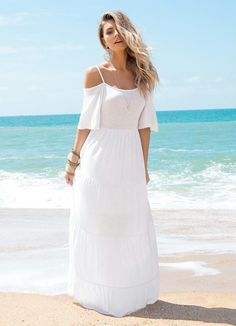 New dress boho white bohemia 66 ideas Maxi Outfits, Boho Fashion, Fashion Dresses, Womens Fashion, White Dress Summer, Summer Dresses, Bohemian Mode, Sweet Dress, Boho Dress