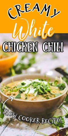 Creamy white chicken chili is a hearty bowl of luscious goodness on a cold, icky day. It's filled with corn, chicken, white beans, and other yummy things then simmered in an unbelievably rich sauce that will have your family licking their plates.   #crockpot #slowcooker #chicken #chili #cream cheese Slow Cooker White Chicken Chili Recipe, Creamy White Chicken Chili, Corn Chicken, Chicken Wing Recipes, Chicken Wings, Slow Cooker Desserts, Slow Cooker Recipes, Crockpot Recipes, Chili Recipes
