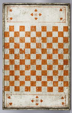 Antique Game Board, White Painted, Checker Board Side (aawt, 2012)