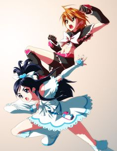 Nagisa & Honoka as Cure Black & Cure White
