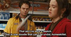 """Ellen page and rainn wilson in """"juno"""" Juno Quotes, Movie Quotes, Movie Memes, Ellen Page, Tumblr Funny, Funny Memes, Hilarious, Stupid Memes, Etch A Sketch"""