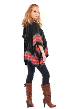 Black and Red Hooded Maternity Poncho | Designer Maternity Clothes www.duematernity.com