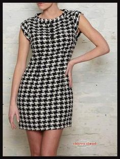 Amy Winehouse Fred Perry mini houndstooth shift dress