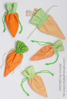 Easy Easter Carrot Drawstring Treat Bags A Free Sewing Tutorial from Stitched by Crystal