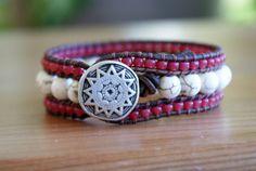 Beaded leather cuff bracelet, White Howlite bohemian beaded distressed leather wrap cottage boho shabby chic trendy artisan jewelry